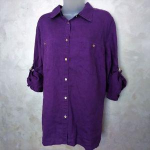 Lauren Linen Roll-Tab Shirt EUC 2X